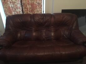 Real leather sofa and 1 armchair