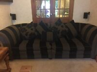 Striped large sofa and arm chair