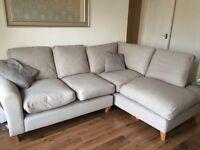 Grey Laura Ashley corner sofa and footstool