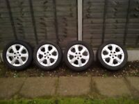 VAUXHALL ALLOY WHEELS AND TYRES FOR ASTRA,ZAFIRA,VECTRA, 16 INCH IN VGC