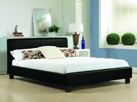 FREE SAME DAY LONDON DELIVERY!! BRAND NEW ITALIAN FAUX LEATHER DOUBLE BED AND MATTRESS** BLACK/BROWN