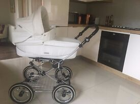 Immaculate Prestige BabyStyle PRAM Package in white leather with Silver