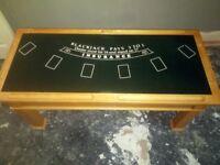 Oak poker tea table