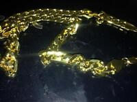 24 inch gold plated flat link chain ex condition