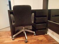 Modern Compact Habitat Tanna Desk- Solid Black Oak Desk with Desk Chair