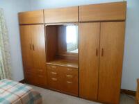 Bedroom Suite - 2 wardrobes, dressing table & set of drawers - Teak Veneer - Ex Cond