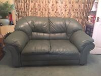 Allders 2 seater leather sofa in forest green