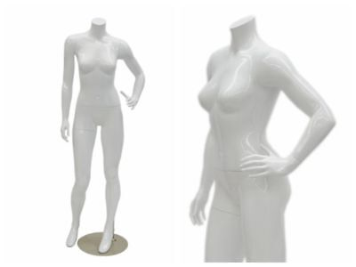 Adult Female Headless Glossy White Fiberglass Mannequin With Included Metal Base