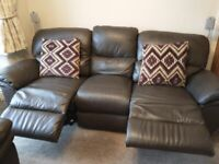 Leather recliner sofa and chair