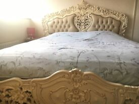 Ornate Solid Mahogony Wood, Ivory painted, 6' Super-king Bed