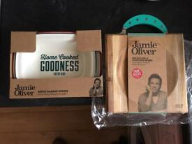 Jamie Oliver baking dishes & mezzaluna & chopping board. NEW.pick up in brightons (Falkirk)