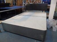 Grey Double Bed Divan & Headboard