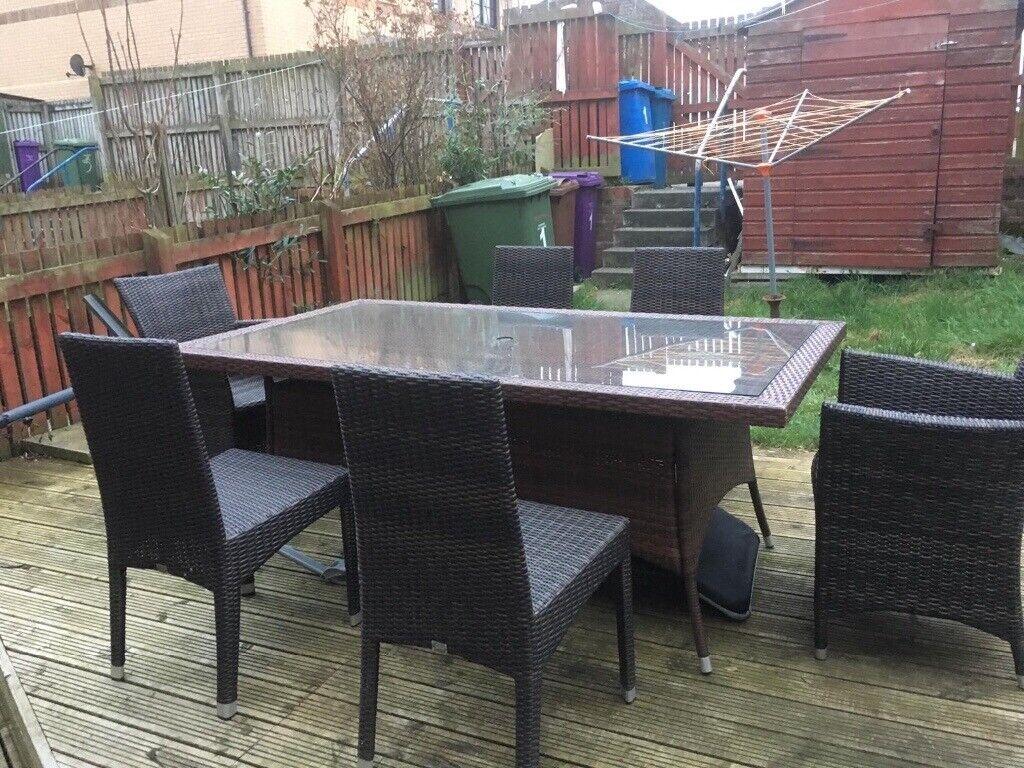 Cambridge large rattan patio table chair set