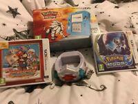 Limited edition Pokémon Nintendo 2ds boxed with Pokémon sun & moon , z ring & Mario stick star