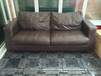 DFS Dark Brown Leather 2 Piece Suite