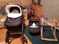 Silver cross pram with travel seat and rocker