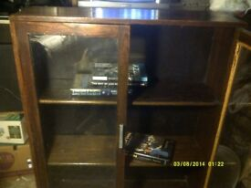 BOOK CASE 30 by 36 by 10 Inches . WITH 2 GLAZED DOORS .SOLID OAK CONSTRUCTION .++++