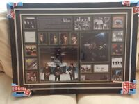 LARGE FRAMED BEATLES MONTAGE SIGNED BY PETE BEST WITH AUTHENTICITY CERTIFICATE