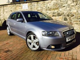 "AUDI A3 2.0 TDI SLINE QUATRO 170 SPORT BACK 56 PLATE LEATHER 6 SPEED 18""ALLOYS**MINT CONDITION***"