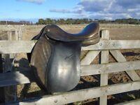 Jefferies Falcon leather GP saddle, brown, 17 ins, narrow/medium. Good condition