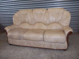 Cream Italian Leather 3-seater Sofa (Suite)
