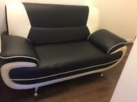 Black White Sofa Faux Leather