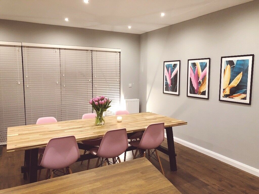 Ikea Skogsta Dining Table 6 Pink Eames Chairs In County Antrim