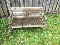 Ornate outdoor teak children's bench