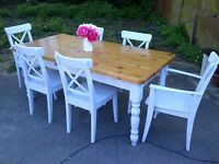 FARMHOUSE TABLE AND SIX CHAIRS chunky TOP VERY very HEAVY WITH DRAWER SHABBY CHIC app 6ft x 3ft