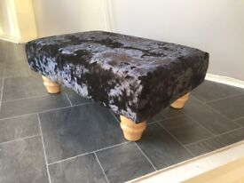Footstool quality hand made crushed velvet fabric
