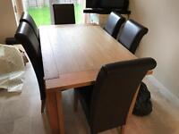 Harveys Claremount Oak Extending Table & Six Brown Leatherette Chairs