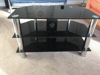 Black Reflective Glass TV Stand