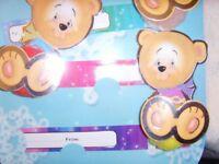 Cute Teddy Bear Pom Pom gift tags - 8 per strip