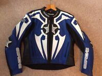Men's Hein Gericke motorcycle jacket in blue, black and white. Size 40