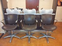Hairdressing Salon Shampoo Chairs x 3 + Salon Reception Desk & Free Standing Wardrobe