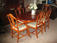 beautiful Yew wood dining suite. Will suit large traditional type house. Selling due to downsizing.