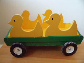 Vintage handmade wooden toy pull-along trolley – duck design. £5 ovno.