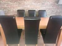 Dining table & 6 brown leather chairs for sale