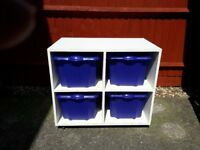 White Wooden Toy Storage Unit with Four Purple Boxes - cash on collection from Gosport Hampshire