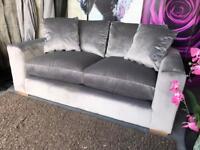 New Porto Velvet 2 Seater Sofa in Grey