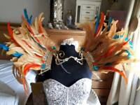 FABULOUS CARNIVAL/MARDI GRAS FEATHER AND GEM SHOULDER AND HEAD PIECE