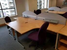 Curved office desks £160cm £45 each