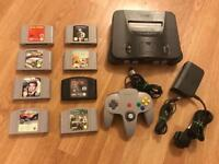 Nintendo N64 console and games. Retro gaming console.