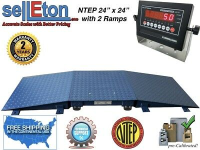 New Warehouse Floor Scale Ntep 24 X 24 2 Ramps 5000 Lb X 1 Lb Led Display