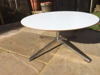 Low Round White Designer Coffee Table 75cm wide - made by Allemuir