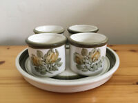 Vintage 1970's-80s Jersey Pottery 4 egg cups on matching plate/stand. Can post. £8 ovno lot.