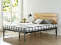 King size metal bed frame with wooden headboard