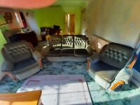 Three Piece Suite 3 Seater Sofa Settee Couch + 2 Two Matching Armchairs Arm Chairs Seat Green Fabric