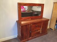 Lovely solid wood sideboard and mirror