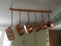 Copper pan set of 6, French, vintage, quality heavy gauge